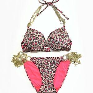 Pink Victoria's Secret Bikini Bathing Suit Cheetah Print Pink Sequence PINK